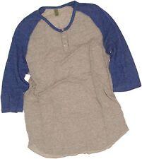 Alternative Earth 3/4 Sleeve 2 Color Baseball Henley Ash / Blue 2XL 00218