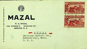 MEXICO 1935 20c PAIR ON COVER VIA AIRMAIL TO SOUTHBRIDGE MASS. USA
