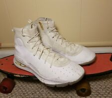 2017 Under Armour Curry 4 White Gold Size 14 Mens Basketball Shoes 1298306-102