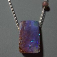 Collier pendentif opale boulder et Welo 17.3ct VIDEO chaîne argent 47cm opal