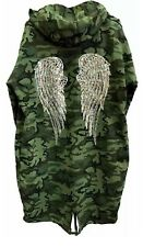 Women Sequin Angel Wings Back Over-sized Hoodie Sweatshirt Jacket Coat Cardigan