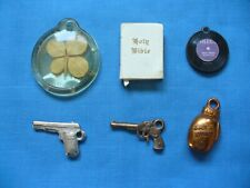 Lot of 6 Vintage Gumball Cracker Jack Toys Charms Record Bible Boxing Glove