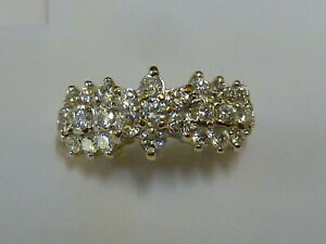 Ladies Stunning 9ct Gold Fancy CZ Cluster Ring - Size O - Fully hallmarked
