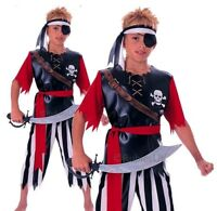 Boys PIRATE KING Jack Sparrow Party Child Caribbean Fancy Dress Costume Age 5-10