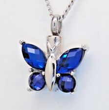 Sapphire Blue CZ Butterfly Cremation Urn Necklace, September Birthstone Jewelry