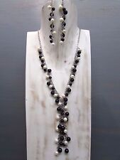 """18"""" Onyx and Pearl Cluster Necklace Round Bead Handmade Free Earrings US Seller!"""