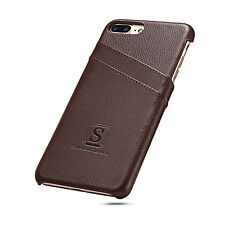 iPhone 7 Plus Coated Leather Case with card slots Walnut Brown Simons of London