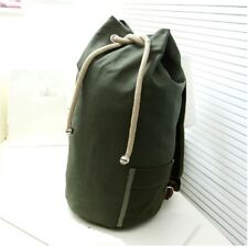 Mens Unisex Army Green Cotton Canvas Sailor Duffle Bag Gym Washing Backpack