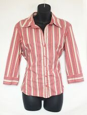 Old Navy Women's 3/4 Sleeve Coral, White, Blue, Striped Button Up Shirt! Sz L