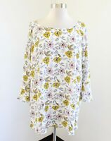 NWT $54 Ann Taylor Loft Plus White Yellow Pink Floral Contrast Blouse Top 26 26W