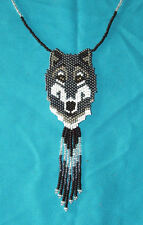 Beaded WOLF w/ Gold Eyes Necklace Powwow Regalia Fair Trade #03