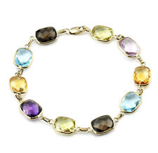 14K Yellow Gold Bracelet With Cushion Cut Gemstone 7.5 Inches