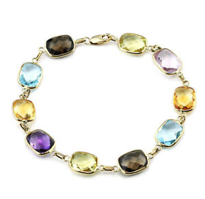 14K Yellow Gold Bracelet With Cushion Cut Multi Color Gemstones 7.5 Inches