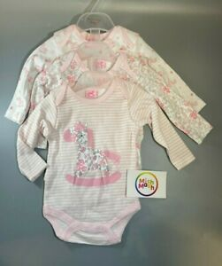 ROCK A BYE BABY girls 3 pack pink pony floral cute long sleeve vests bodysuits