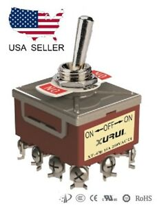 HEAVY DUTY 4PDT ON-OFF-ON TOGGLE SWITCH 20A 125V, 15A 250V SCREW TERMINALS (43B)
