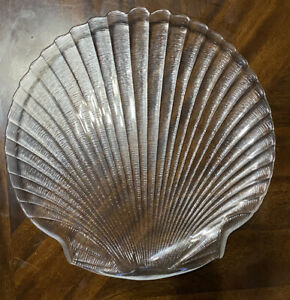 COQUILLAGE BY ARCOROC SHELL SHAPED TEXTURED CLEAR GLASS DINNER PLATES SET Of 7