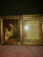 Vintage Italian Florentine A House Blessing Icon Italy Prayer BI-Fold Framed