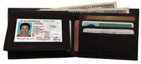 Black Men's Plain Genuine Leather Window 10 Cards ID Bifold Wallet