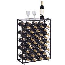 32 Bottle Black Metal Wine Rack Storage Display Case Liquor Cabinet Stand Glass