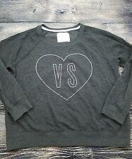 Victoria's Secret VH Rhinestone Heart Crewneck Lightweight Sweatshirt LARGE WC3