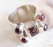 Breit Silberring Granat Rot Eckig Handarbeit Silber Ring 56 Massiv Antik Design