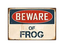"Beware Of Frog 1 8"" x 12"" Vintage Aluminum Retro Metal Sign VS177"