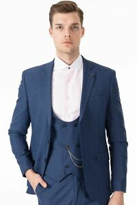 Jack Martin - Peaky Blinders Style - Blue Glen Check Tailored Fit 3 Piece Suit