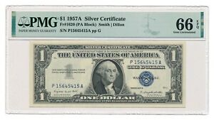 UNITED STATES banknote $1 Silver Certificate 1957 A PMG MS 66 EPQ Gem Unc