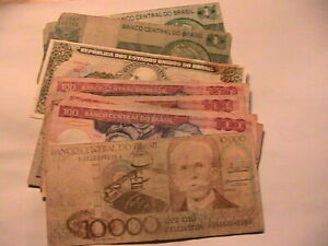 Old Brazil Banknotes Mixed Collection of 9 Brazilian Brasil Paper Money Notes