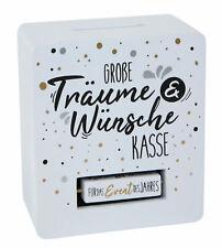 Spardose weiß 15x13 cm - Wünsche Kasse für 4 Anlässe - Sparbüchse Geschenkidee