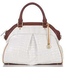 ❤️BRAHMIN LOUISE ROSE MACAROON TRI PEARL WHITE PECAN SATCHEL CROC EMB LEATHER ❤