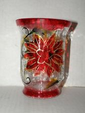 POINTSETTIA GOLD ACCENT LARGE HURRICANE CRACKLE GLASS CANDLE HOLDER NWTS