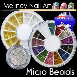 Micro Beads Gold Silver Caviar Set Nail Art Decoration Metal Craft Supply Balls