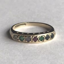 9ct  Gold Ring Diamond Sapphire Emerald Amethyst Ruby Love Engagement Size I