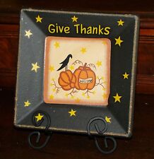 Rustic Fall Home Decor Pumpkin & Crow Plate with Holder Decorative Plate NEW