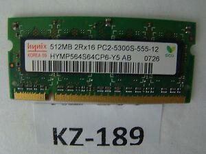 Notebook Hynix 1x512MB 2Rx16 PC2-5300S-555-12 HYMP564S64CP6-Y5-AB-C #KZ-189