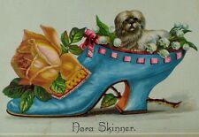 Embossed Victorian Card Nora Skinner Giant Blue Lady's Shoe Tiny White Dog *W
