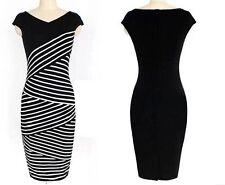 Women's Plus Size Jersey Pencil Dress medium length Black & White Stripes