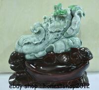 """12 """"Chinesische natürliche Smaragdgrüne Jade-Jadeit-Reichtums-Kohl-Skulptur"""