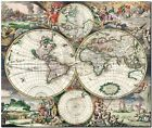 Vintage Illustrated Old World Map 1680's CANVAS PRINT poster A3