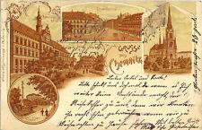 Chemnitz-Johannisplatz, Rathaus und Börse, Theater und Sieges-Denkmal, Litho-Ak