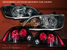 2002-2003 MITSUBISHI LANCER JDM BLACK HEADLIGHTS + BLACK TAIL LIGHTS SEDAN 4DR