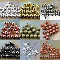 Bronze Gold & SILVER PLATED Metal Round SPACER BEAD 2.5mm 3.0mm 4mm 5mm 6mm 8mm