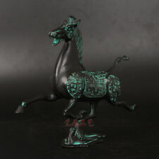 "8"" china old Handmade bronze Horse tread Swallow Statues Ornament"