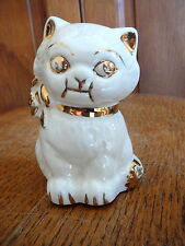 Vintage White & Gold Ceramic Cat Kitten Kitty Bank Hand Decorated Bottom Intact