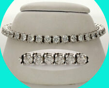8.80CT diamond tennis bracelet straight line 14K white gold round brilliant 22GM