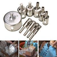 10Pcs/Set 8-50mm Diamond Hole Saw Drill Bit Set Glass Ceramic Tile Marble Exotic