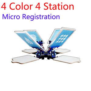4 Color Micro Registration Silk Screen Printing Machine 4 Station Screen Printer