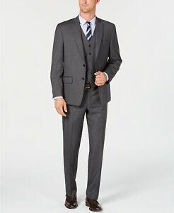 Michael Kors Stretch Gray Check Vested Wool Suit Mens 41L 41 Pants 34 x 33