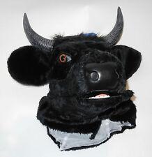 Maske Tiermaske schwarzer Stier Bulle  bewegliches Maul
